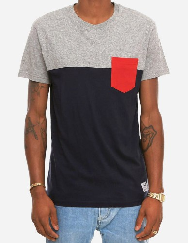 iriedaily - Block Pocket 2 Tee blue red