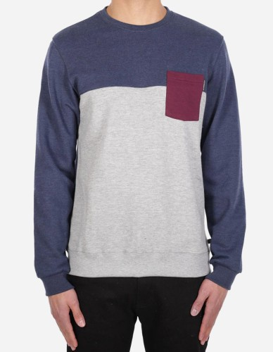 iriedaily - Block Pocket Crew grey blue