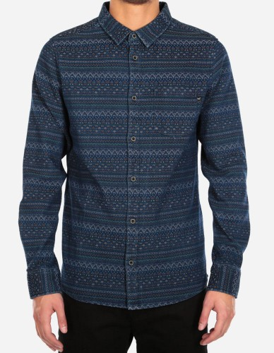 iriedaily - Denomad LS Shirt navy orange