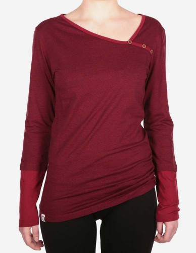 iriedaily - Asym Stripe Button LS bordeaux red